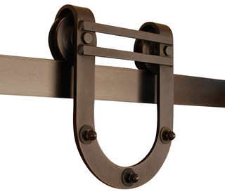 Horseshoe barn door hardware kit farmhouse barn door for Real carriage hardware