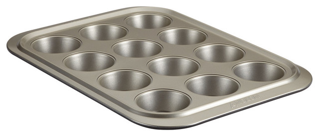 Anolon Nonstick Bakeware 12-Cup Muffin Pan, Pewter And Onyx.