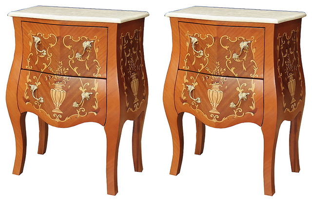 mbw furniture french style inlaid mahogany nightstand chest bedside table with marble set of