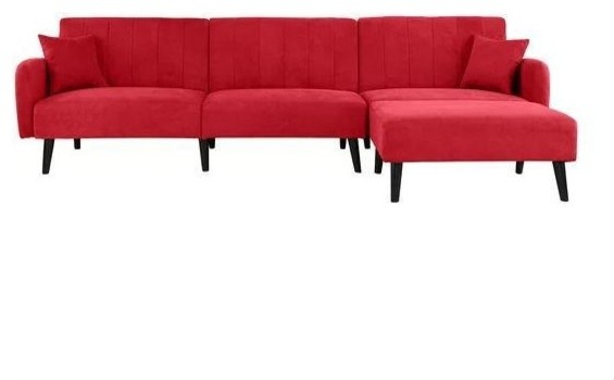 Mid-Century Modern Red Linen Sleeper Sectional Sofa
