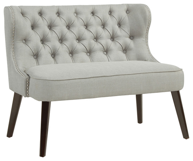 Button Tufted Wing Back Bench Traditional Upholstered
