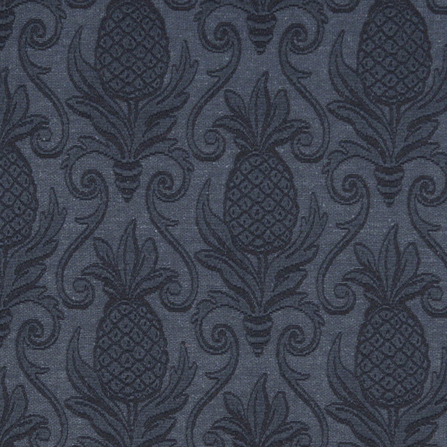 Blue Pineapples Woven Matelasse Upholstery Grade Fabric By The Yard