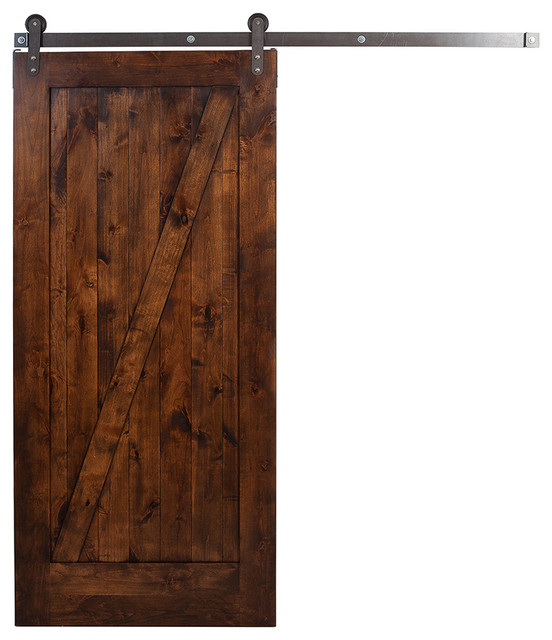 Farmhouse Interior Doors : Traditional unassembled z barn door with steel rolling