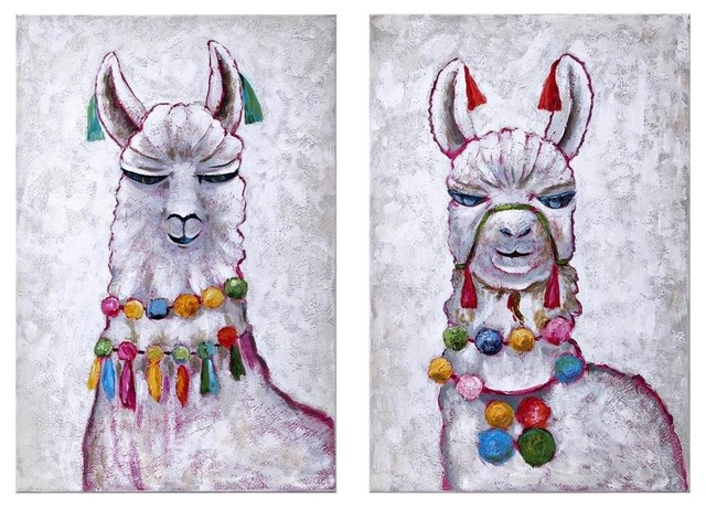 """2-Piece """"Llama Party"""" Oil Painting"""