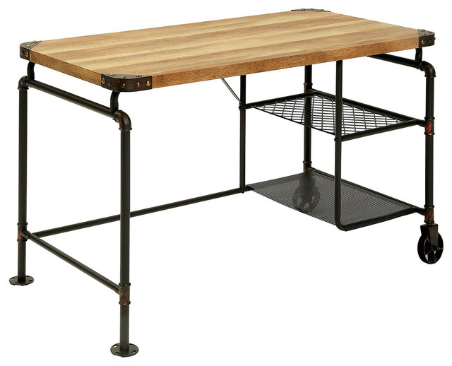 Industrial Antique Black Metal Writing Desk With Wood Top Wire Shelves  Casters - Industrial Antique Black Metal Writing Desk With Wood Top Wire