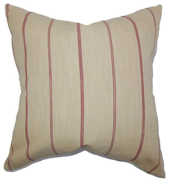 """Fairfax Stripes Pillow, Neutral Red, 18""""x18""""."""