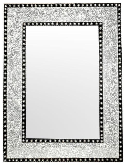 "Decorshore 24""x18"" Crackled Glass Framed Rectangular Mosaic Wall Mirror, Silver."