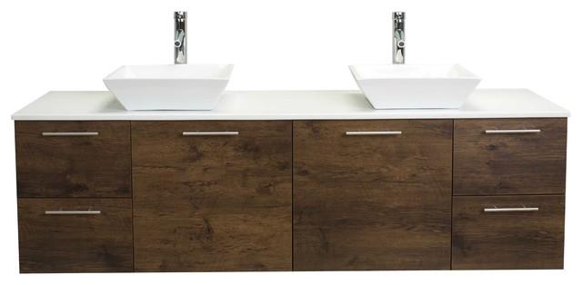 Eviva Luxury 72 Rosewood Bathroom Vanity With Top.