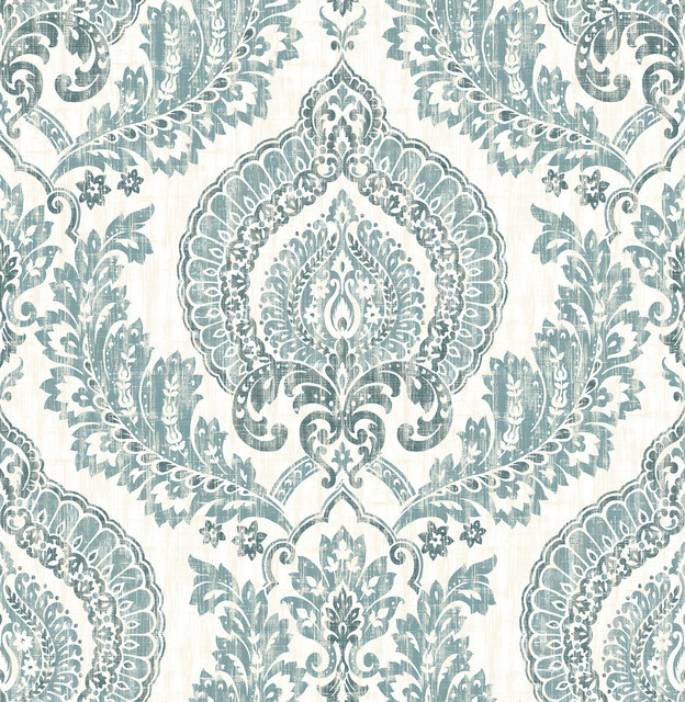 Kensington Damask Blue Peel And Stick Wallpaper Bolt.