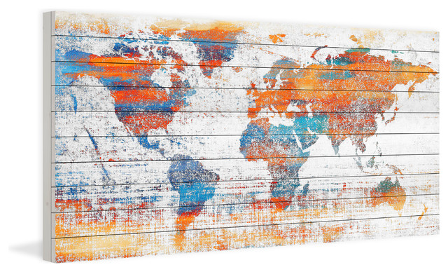 """warm World"" Print On White Wood, 60""x30""."