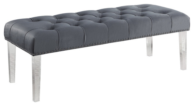 Suede Upholstered Tufted Bench With Acrylic Legs Gray
