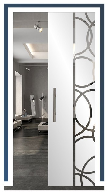 Glass Sliding Pocket Door And Classic Retro Frosted Design   Contemporary    Interior Doors   By Glass Door.us