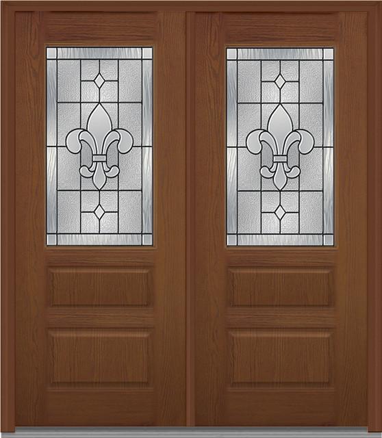 Carrollton 1/2 Lite 2-Panel Horizontal Fiberglass Oak Warm Chestnut Double Door - Interior Doors - by Verona Home Design & Carrollton 1/2 Lite 2-Panel Horizontal Fiberglass Oak Warm ... Pezcame.Com