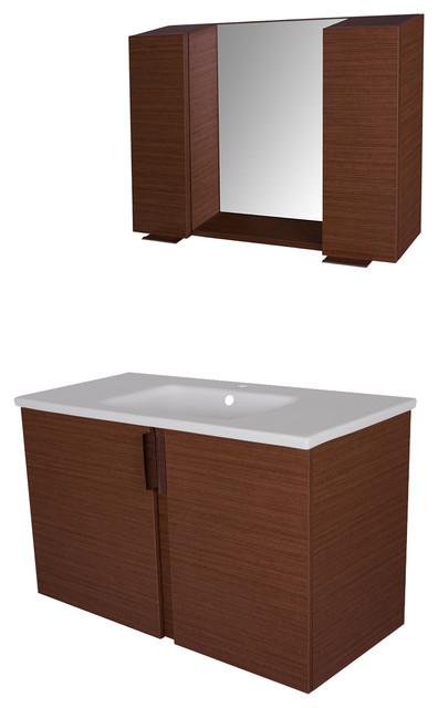 40 Amazon Vanity Set, Rige Teak, Flat Finish.