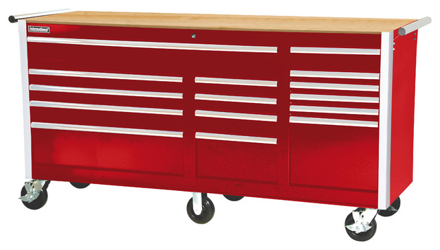 "SPG International - 75"" 15-Drawer deep Tool Cabinet With Hardwood Top, Red - View in Your Room ..."