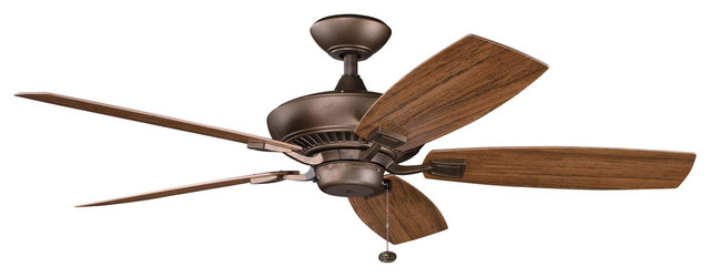 Canfield Patio Outdoor Fans, Weathered Copper Powder Coat.