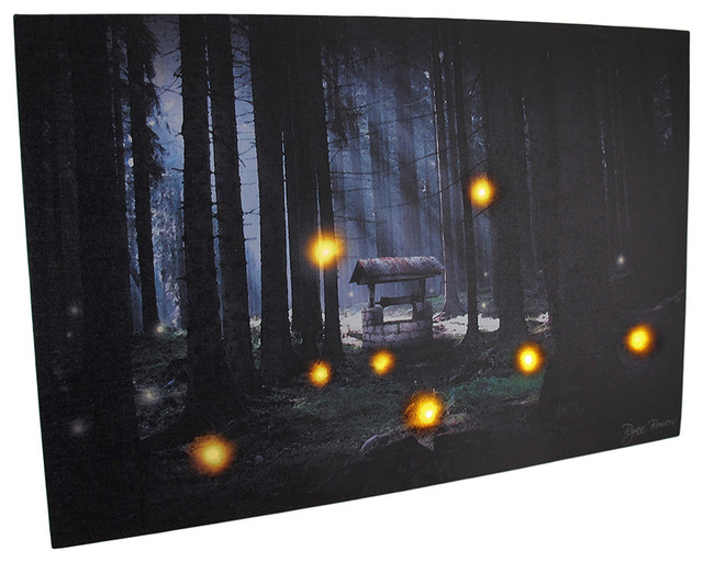 Vanity Lights Flickering : Enchanted Forest Flickering LED Lighted Canvas Wall Hanging - Prints And Posters - by Zeckos