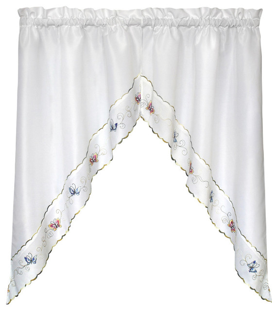 """United Curtain Co. Butterfly 60""""x36"""" Pair Of Kitchen Swags."""