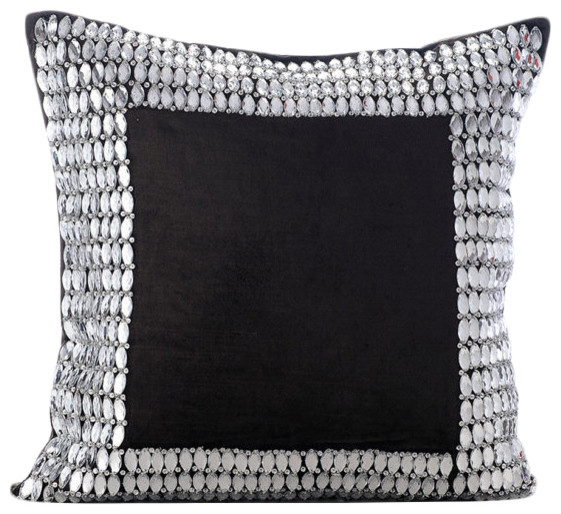 Rhinestones Crystals 40x40 Velvet Charcoal Gray Pillows Cover Custom Rhinestone Decorative Pillows