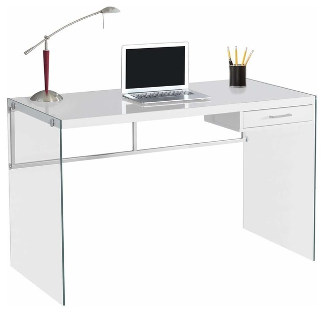 "Computer Desk, 48""l, Glossy White, Tempered Glass."