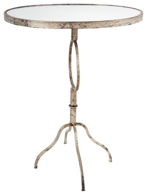 """Metal And Glass Oval Side Table 15""""x23""""x27.5"""""""