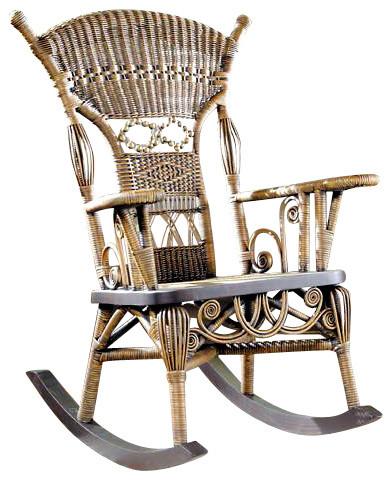 aunt millie wicker rocker u0026 antique round table set chairs - Wicker Rocking Chair