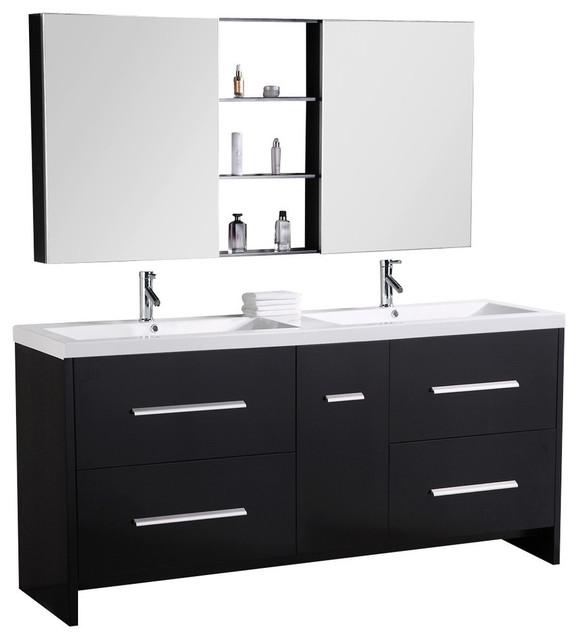 perfecta double sink vanity set in espresso - contemporary