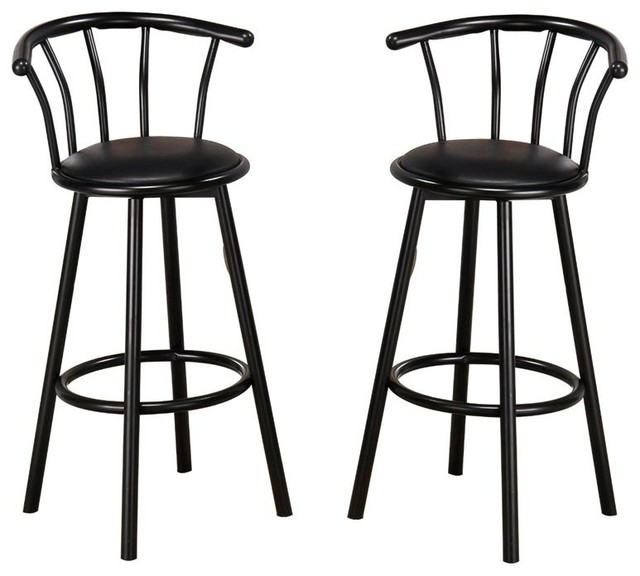 Indoor Metal Swivel Vinyl Seat Pub Bar Stools Set Of 2 Black