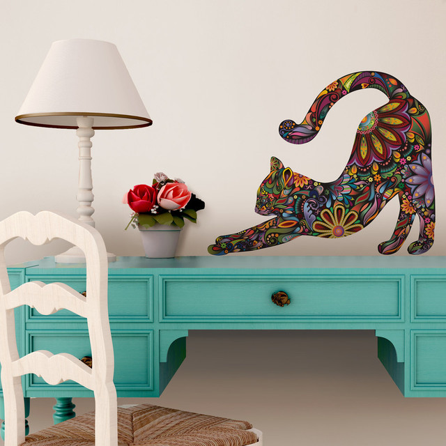 Stretching Cat Wall Sticker, Floral Cat Decal, Small, As Shown Contemporary  Wall Part 17