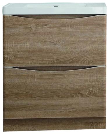 "Eviva Smile 36"" White Oak Floor Mount Modern Bathroom Vanity."