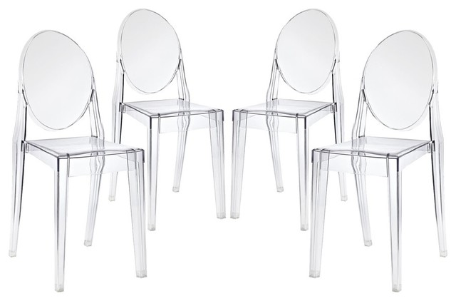 Casper Dining Chairs, Clear, Set Of 4.