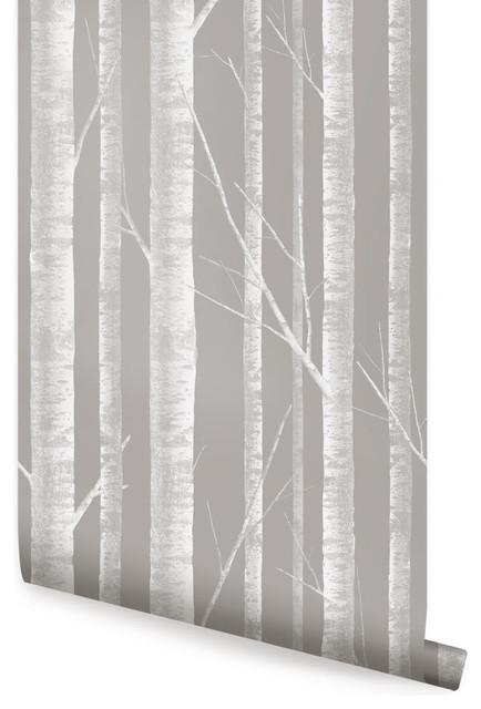 "Birch Tree Wallpaper, Peel and Stick, White Gray, 24""x108"""
