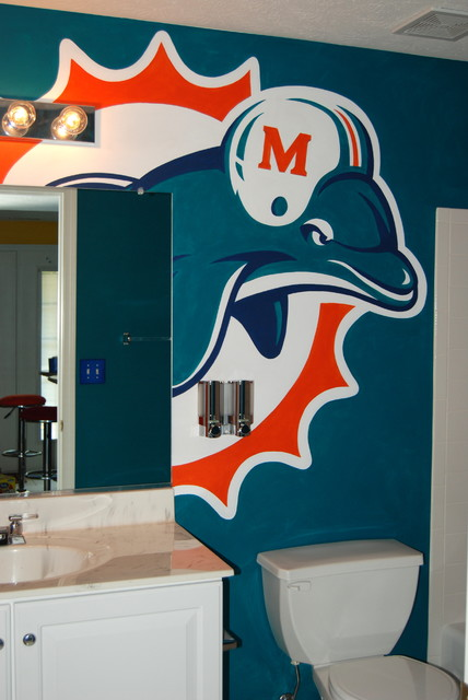High Quality Miami Dolphins Mural In A Bathroom By Tom Taylor Of Art Llc