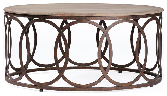 Gabby Ella Oak And Iron Round Coffee Table Transitional Coffee Tables