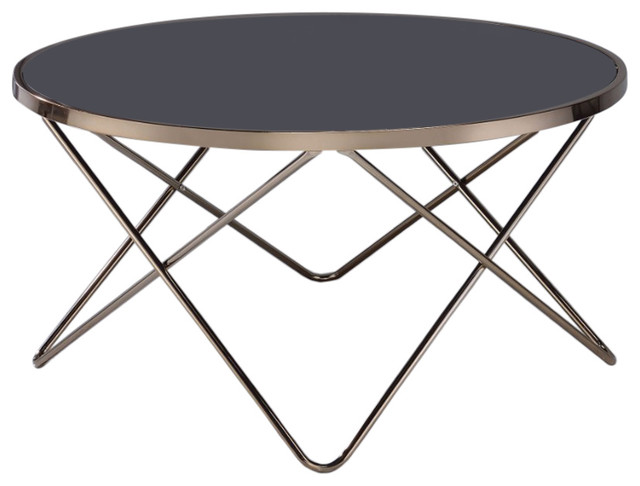 Alluring Coffee Table, Black Glass Gold.