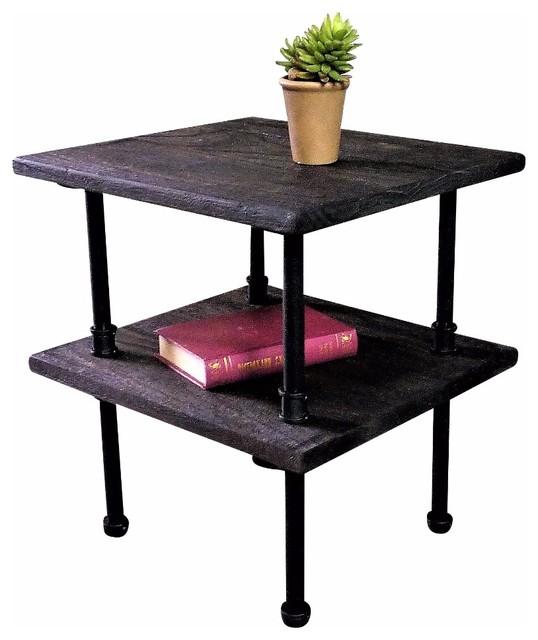 Delicieux Corvallis Industrial Chic Side Table, Black Steel/Dark Wood
