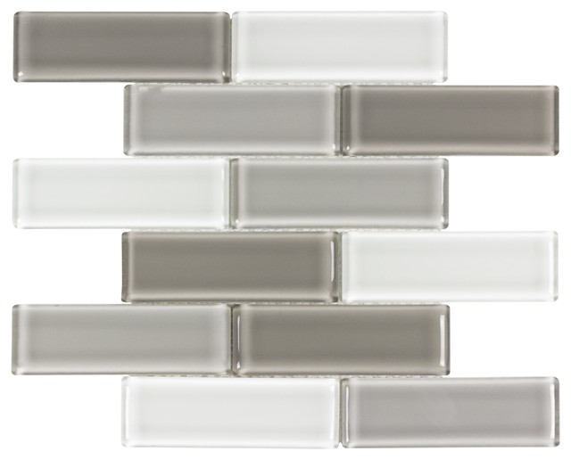 Mto0174 Modern Linear Brown Gray White Glossy Molded Gl Mosaic Tile