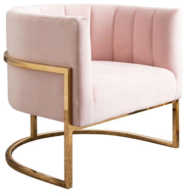 Sensational Erika Channel Tufting Velvet Accent Chair Blush Pink Machost Co Dining Chair Design Ideas Machostcouk