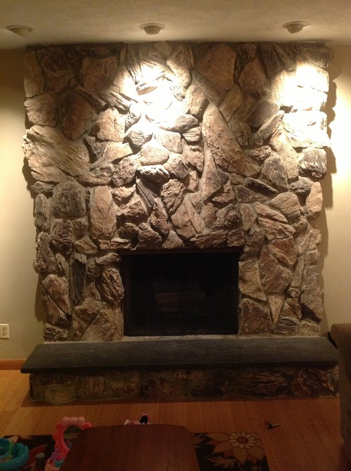 Lava rock fireplace makeover