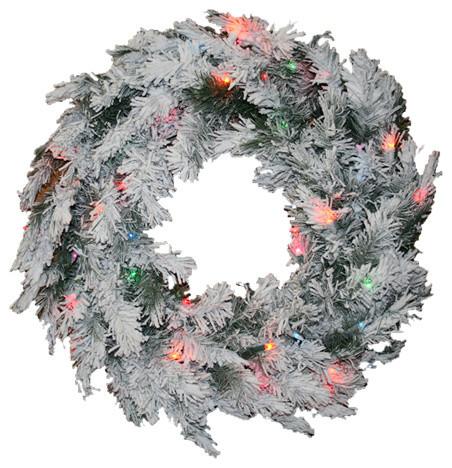 "Pre-Lit Flocked Alaskan Artificial Christmas Wreath, Multi Dura Lights, 36""."