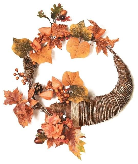 """20"""" Autumn Harvest Berries And Leaves Cornucopia Wreath."""