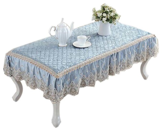 Beau European Style Velvet Table Cover Coffee Dustproof Lace Tablecloth, Light  Blue