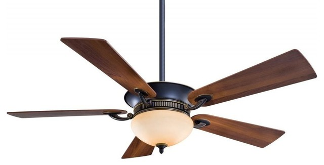 "Ceiling Fan With 5-Blades And Light Kit, 52"", Dark Restoration Bronze."