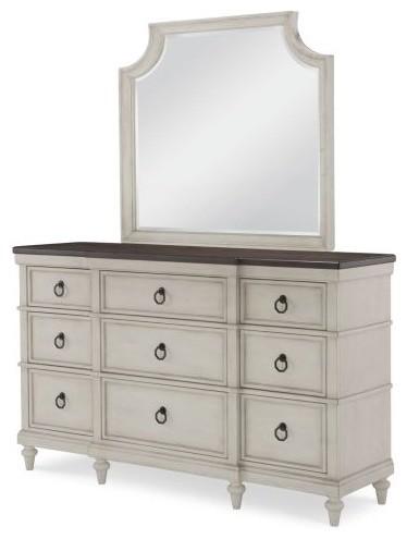 Legacy Brookhaven 9 Drawer Dresser W/mirror, Vintage Linen & Rustic Dark Elm.