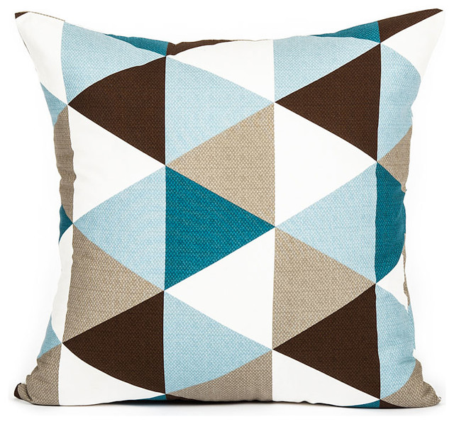 Modern Sky Blue And Teal Brown Triangle Pattern Throw Pillow Cover
