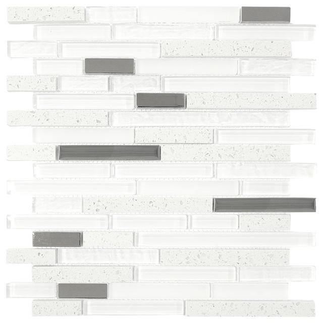 White Gray Gl Quartz Mosaic Backsplash Tile Sample