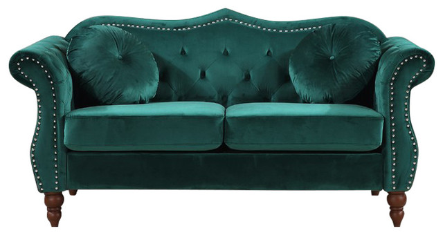 Bridges Classic Nailhead Chesterfield Loveseat, Green.