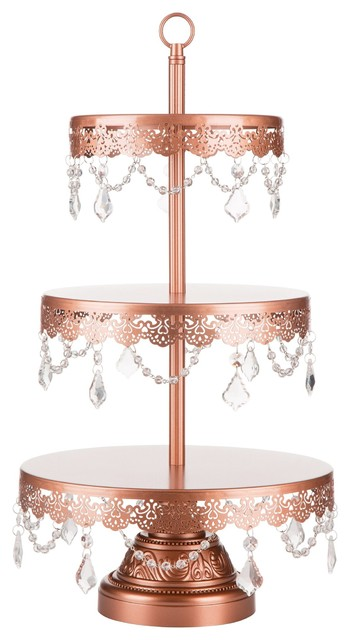 Sophia Rose Gold 3-Tier Dessert Stand With Crystals