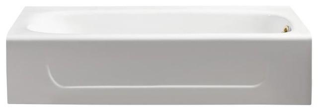 "Streamline 60"" Cast Iron Soaking Alcove Tub With Internal Drain."