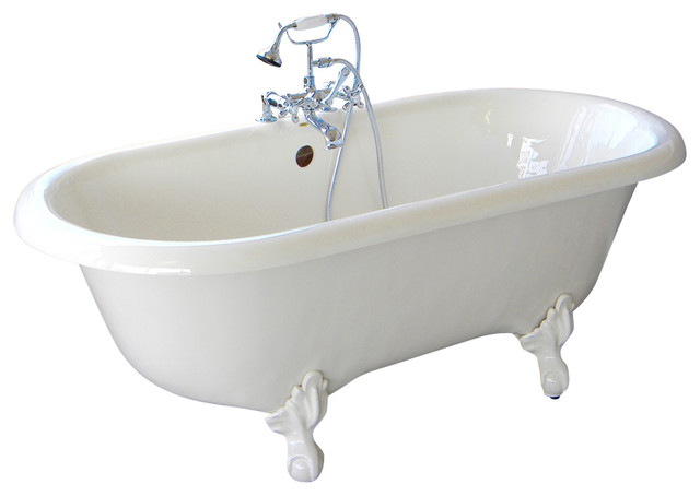 Marquis White Double Clawfoot Tub With Bronze Feet Drilled Rim Faucets